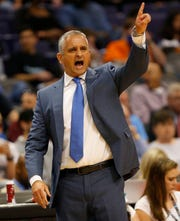 Phoenix Suns head coach Igor Kokoskov directs his team against the New York Knicks during the first quarter in Phoenix March 6, 2019.