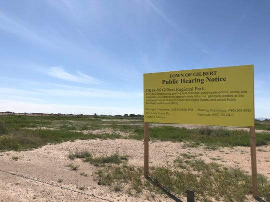 The site of what will be Gilbert Regional Park at Queen Creek and Higley roads as it looked on March 5, 2019.