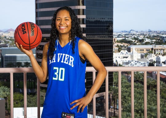 Leilani McIntosh of Phoenix Xavier Prep poses for the azcentral sports All-Arizona girls basketball team at the Republic Media Building in Phoenix, Monday, March 4, 2019.