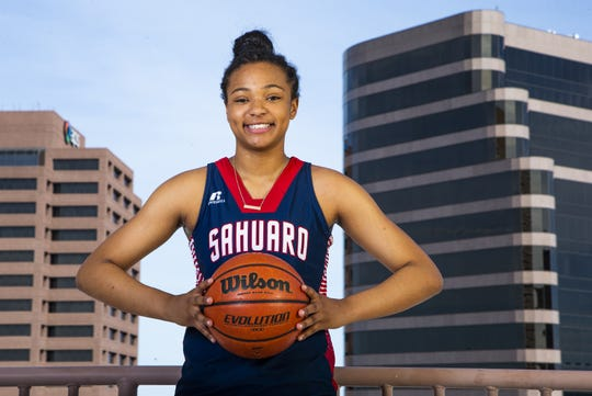 Alyssa Brown of Sahauro poses for the azcentral sports All-Arizona girls basketball team poses at the Republic Media Building in Phoenix, Monday, March 4, 2019.
