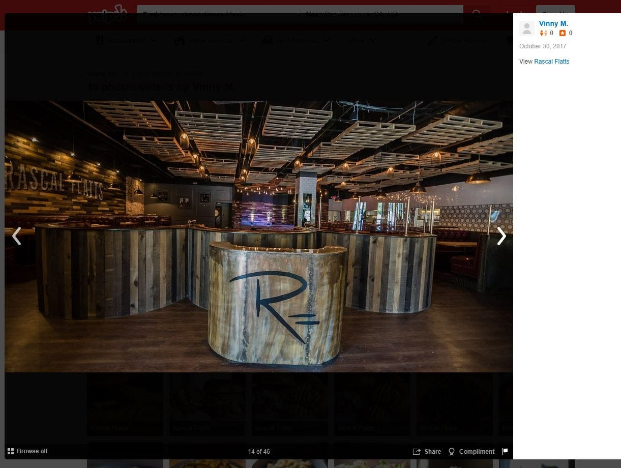 Screenshots taken from the Yelp website show RF Restaurant's first and last Rascal Flatts restaurant. The Stamford, Connecticut, location stayed open about a year before closing in August 2018 amid allegations that RF Restaurants failed to pay more than $1.1 million in rent.