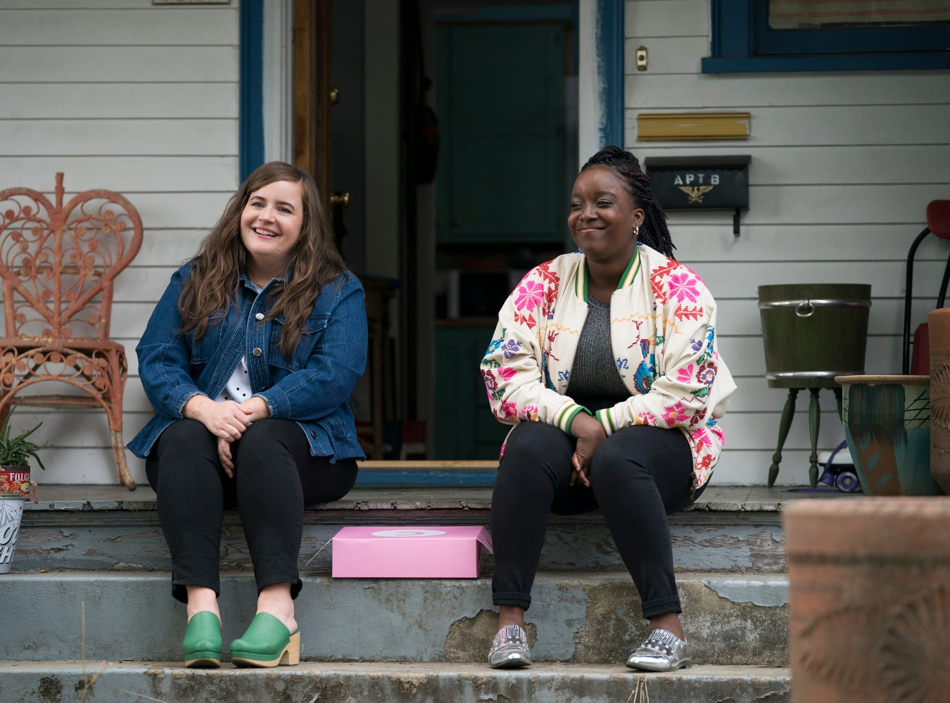 "Annie (Aidy Bryant, left) and Fran (Lolly Adefope) are friends in ""Shrill."""