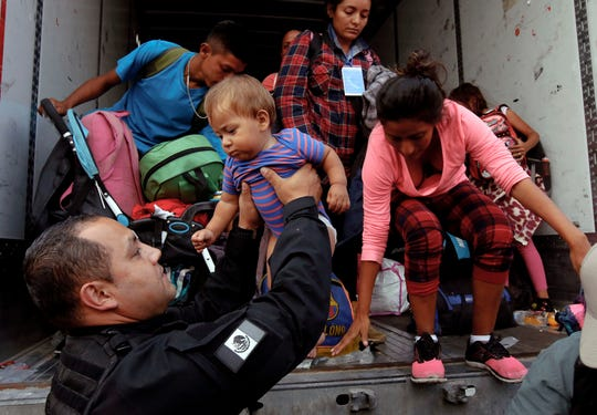 Migrantes de la caravana.