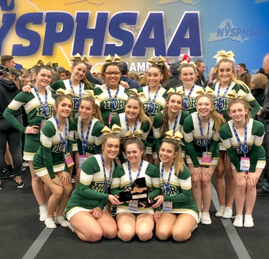 The Franklin D. Roosevelt cheer team poses after finishing fourth in the state championships on March 2 in Rochester.