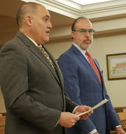 Steven Schwartz (left), a former Wappingers teacher, reads a statement in Dutchess County Court on March 7, 2019, while standing next to his attorney Joseph Tock (right). Schwartz pleaded guilty to one felony count of possessing a sexual performance by a child.