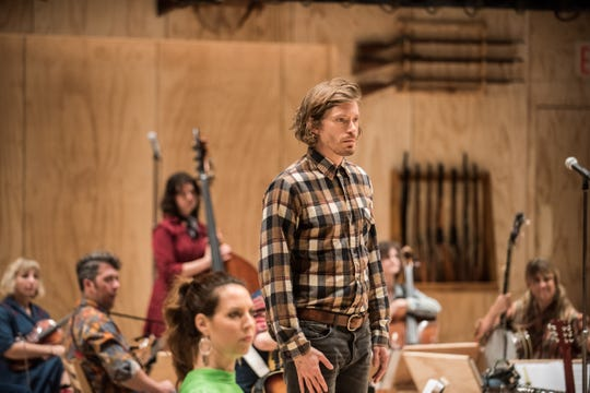 """Bard graduate Patrick Vaill in """"Oklahoma"""" during its run at St. Ann's Warehouse in Brooklyn."""