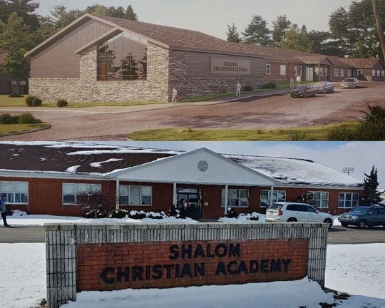 The exterior design of the renovated and expanded elementary wing of Shalom Christian Academy by Brechbill & Helman (top), and the current exterior (bottom).