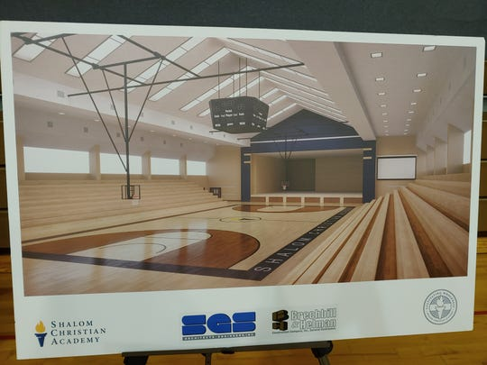 This illustration shows the design plan for the gym and stage at Shalom Christian Academy, Chambersburg. The design would allow students to be using the gym and the stage at one time. SGS Architects of Carlisle and Brechbill & Helman Construction Company of Chambersburg are working on the project.