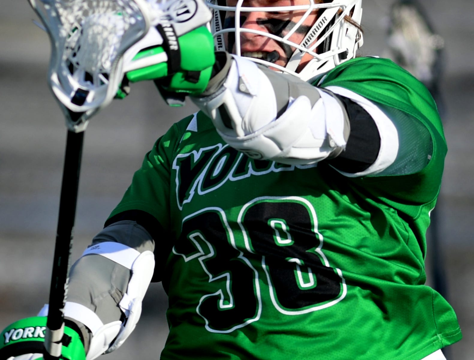 York College's Brendan McGrath celebrates his goal during York's 14-6 win over host Gettysburg College Wednesday, March 6, 2019. Both teams were ranked in the top 10 nationally in NCAA Division III men's lacrosse coming into the game. Bill Kalina photo