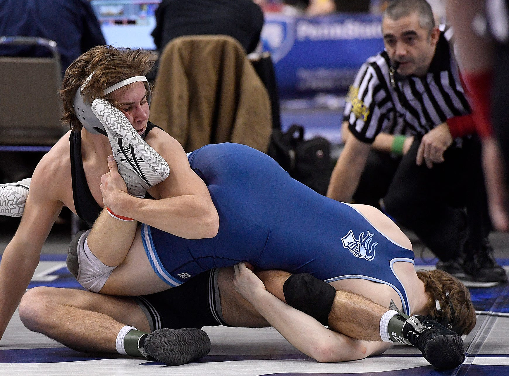 Ethan Baney of South Western, left, wrestles Patrick O'Neill of North Penn during the PIAA Class 3-A 160 pound prelim, Thursday, March 7, 2019.John A. Pavoncello photo