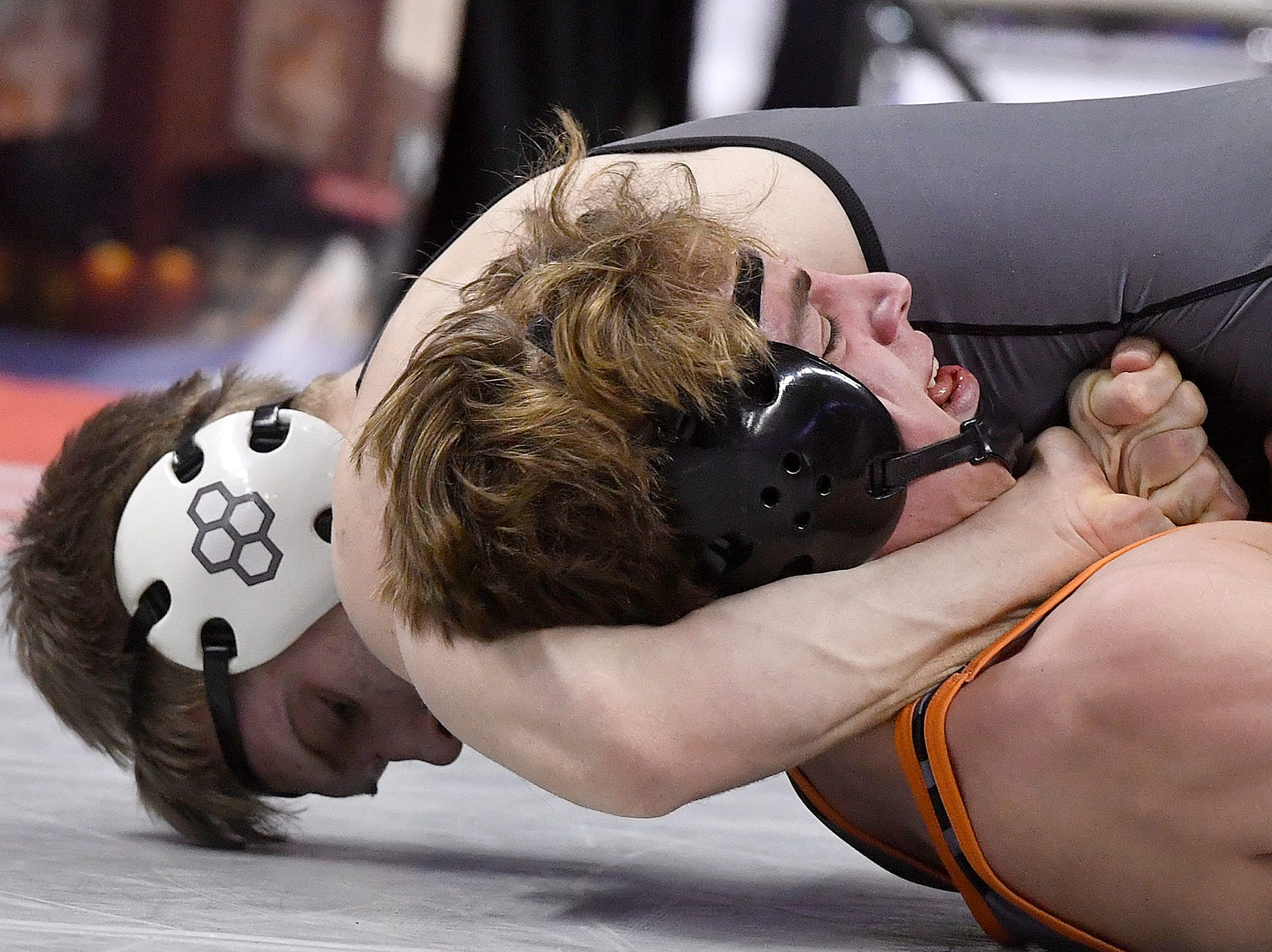 Tanner Schaller of Central York is pinned by Andrew DeBernardo of WC East during the PIAA Class 3-A 170 pound prelims, Thursday, March 7, 2019.John A. Pavoncello photo