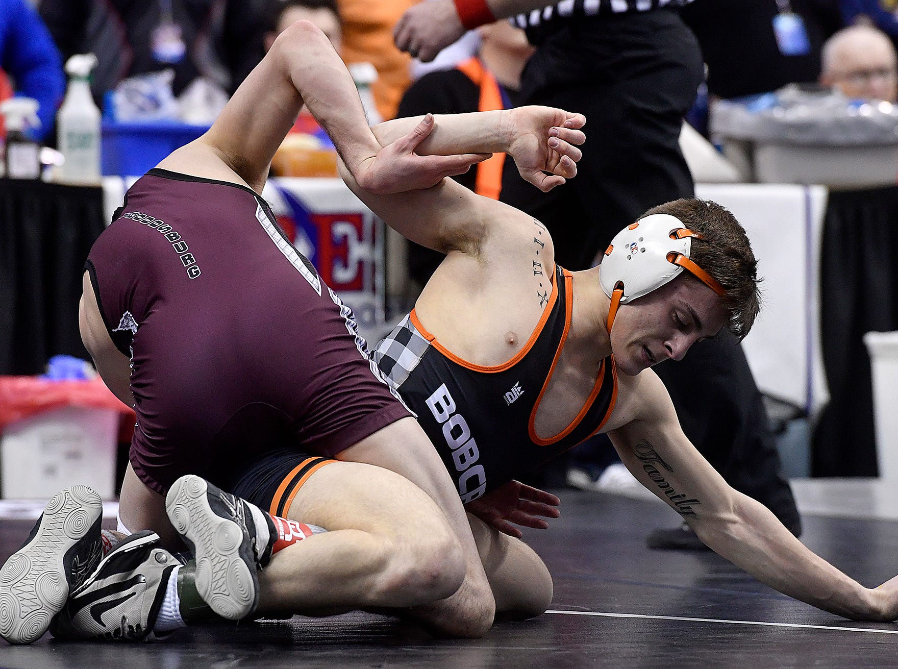 Cole Wilson of Northeastern, right, wrestles Cameron Enriquez of Stroudsburg in the PIAA Class 3-A 120 pound first round match, Thursday, March 7, 2019.John A. Pavoncello photo