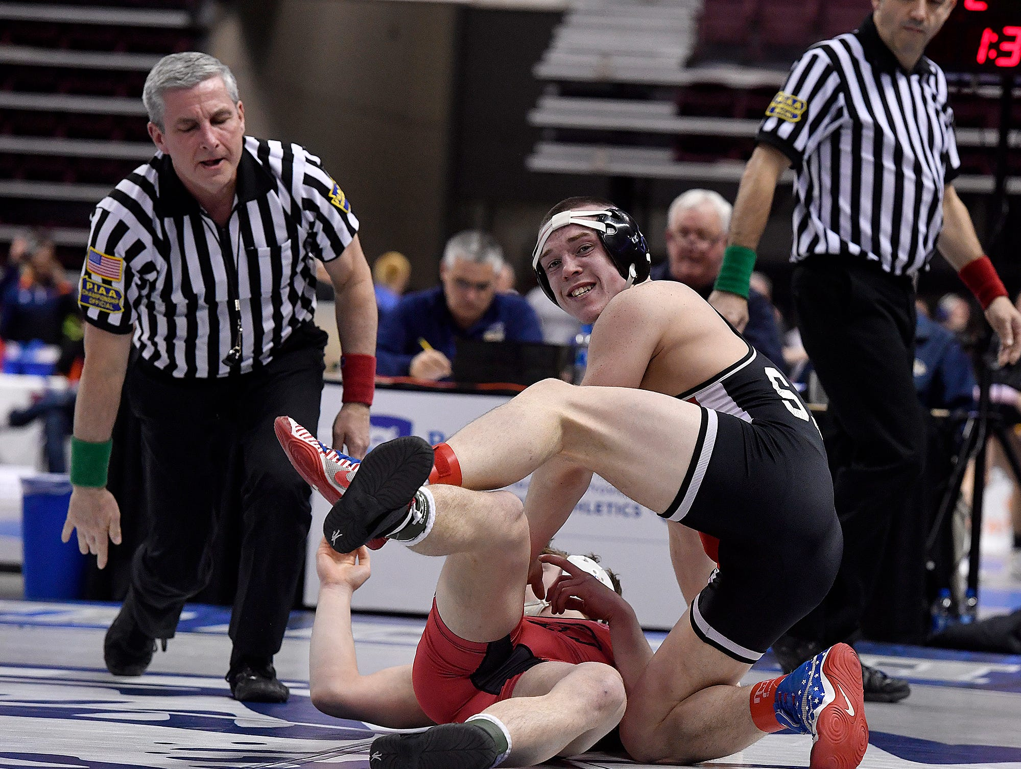 Colby Rome of Susquehannock looks back to his coaches after pinning Brett Brejdor of Boyertown in the 152 pound prelim of the PIAA Class 3-A Wrestling Championships, Thursday, March 7, 2019.John A. Pavoncello photo
