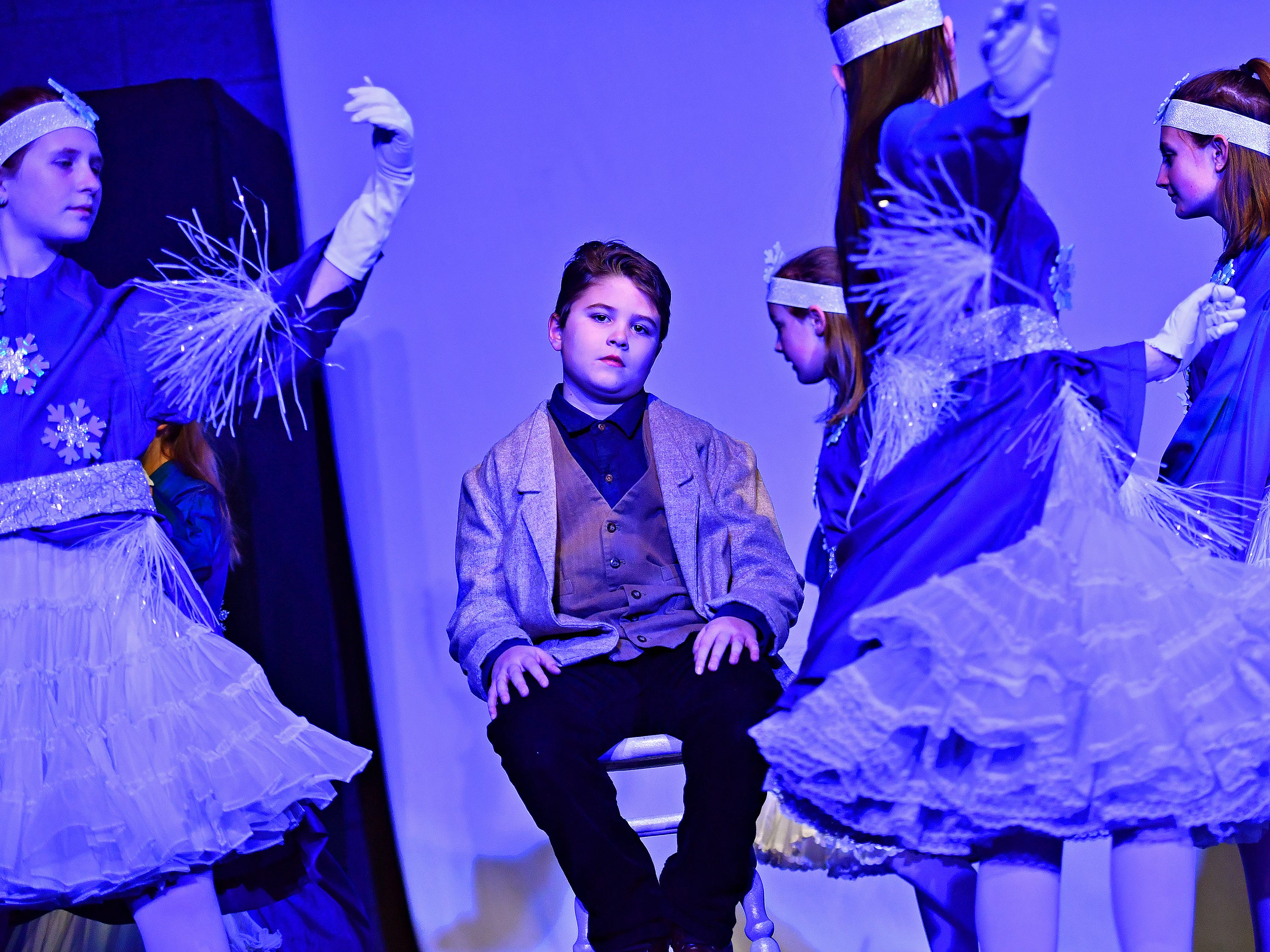 Kay (Brock Gilson, 10), center, during dress rehearsal for The Snow Queen, performed by Theatre Arts for Everyone, at Logos Academy in York City, Wednesday, March 6, 2019. Performances will be March 8-9 at 7 p.m. with 3 p.m. matinees March 9-10. Dawn J. Sagert photo