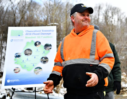 Chanceford Township Supervisor Kent Heffner discusses flood relief during a press conference at the intersection of Mill and Gum Tree roads in Chanceford Township, Thursday, March 7, 2019. Dawn J. Sagert photo