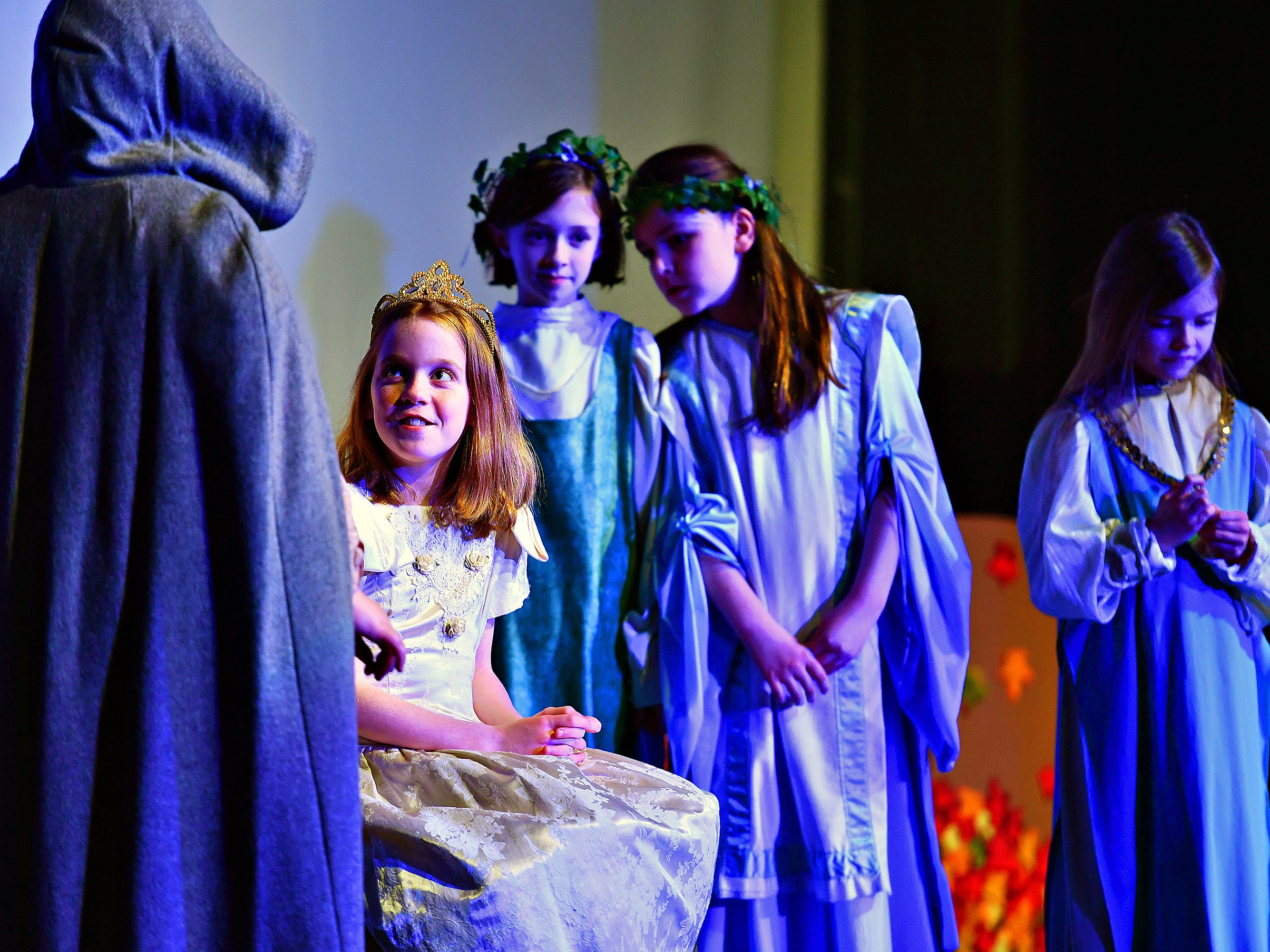 Princess (Kaitlin Damon, 11), second from left, during dress rehearsal for The Snow Queen, performed by Theatre Arts for Everyone, at Logos Academy in York City, Wednesday, March 6, 2019. Performances will be March 8-9 at 7 p.m. with 3 p.m. matinees March 9-10. Dawn J. Sagert photo