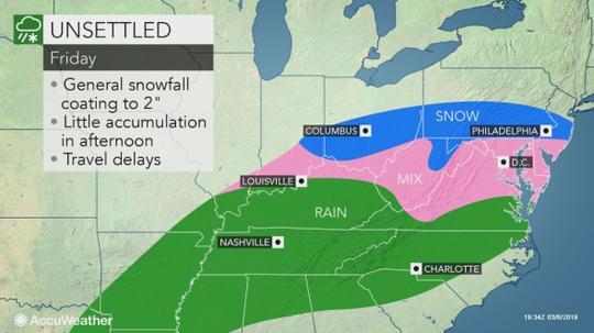 A light snowfall is headed to central Pennsylvania Friday.