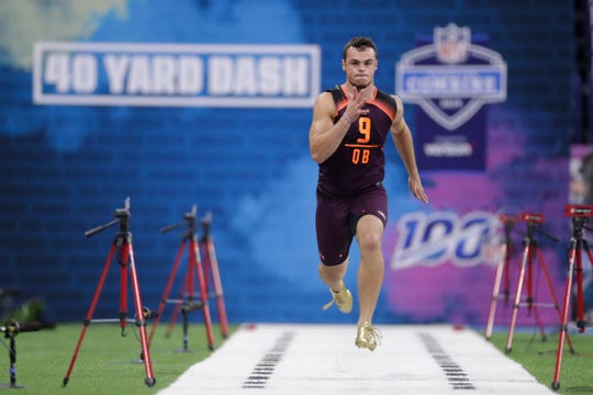 Penn State quarterback Trace McSorley runs the 40-yard dash at the NFL football scouting combine in Indianapolis, Saturday, March 2, 2019. (AP Photo/Michael Conroy)