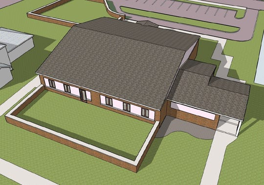 This architect's rendering shows what Northeastern Wayne Schools' administration building would look like after being remodeled into a preschool center.