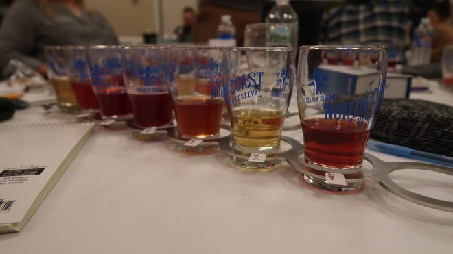 A flight of fruit and spice beers during the New York State Craft Beer Competition judging in Henrietta on Feb. 22.