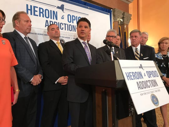 Sen. George Amedore, R-Rotterdam, speaks at a news conference at the state Capitol in June 2018 about addressing the opioid crisis in New York.