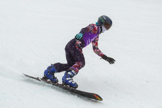 Shasta High senior Sage Will races in the girls giant slalom in the 2019 snowboard state championships held March 4-5 at Mt. Shasta Ski Park.