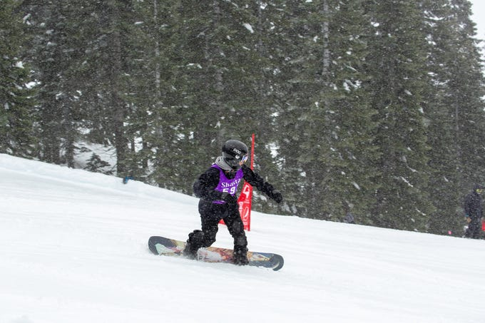 Shasta's Joe Vericker competes in the boys slalom at the 2019 snowboard state championships held March 4-5 at Mt. Shasta Ski Park.