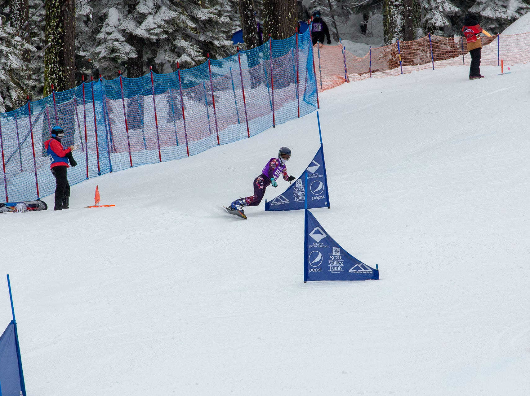 Sage Will of Shasta competes in the girls slalom at the 2019 snowboard state championships held March 4-5 at Mt. Shasta Ski Park.