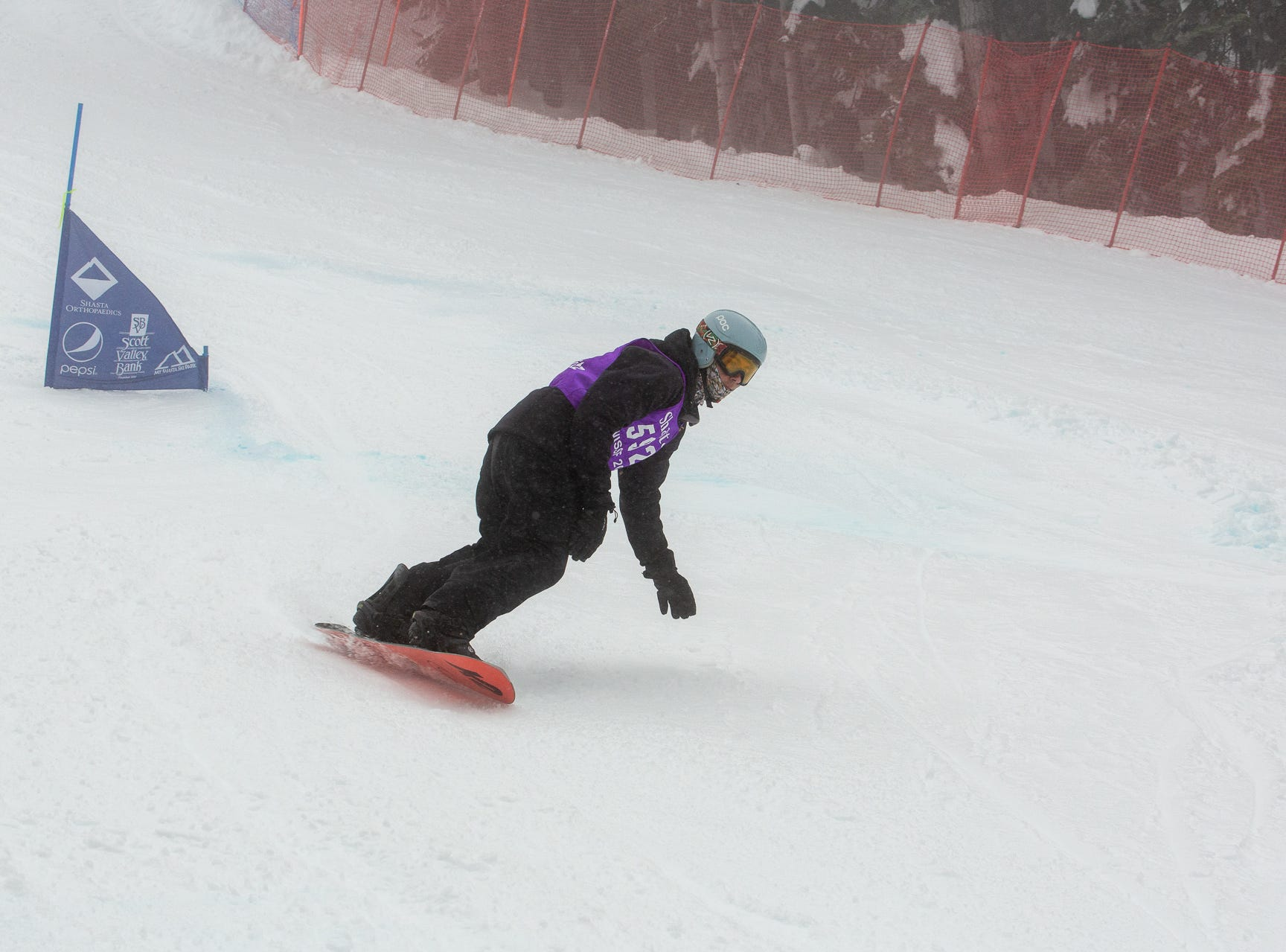 Shasta's Gabe Rubanowitz competes in the boys giant slalom at the 2019 snowboard state championships held March 4-5 at Mt. Shasta Ski Park.