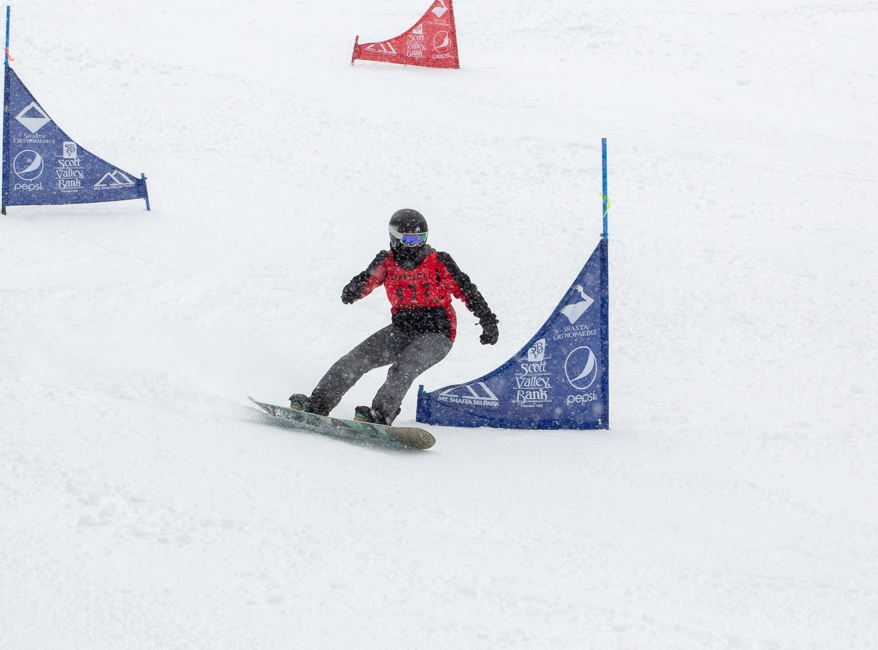 Mattie McKee of Foothill High competes in the girls slalom at the 2019 snowboard state championships held March 4-5 at Mt. Shasta Ski Park.