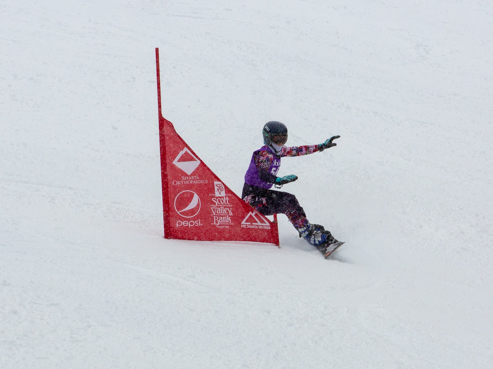 Sage Will of Shasta High competes in the girls slalom at the 2019 snowboard state championships held March 4-5 at Mt. Shasta Ski Park.