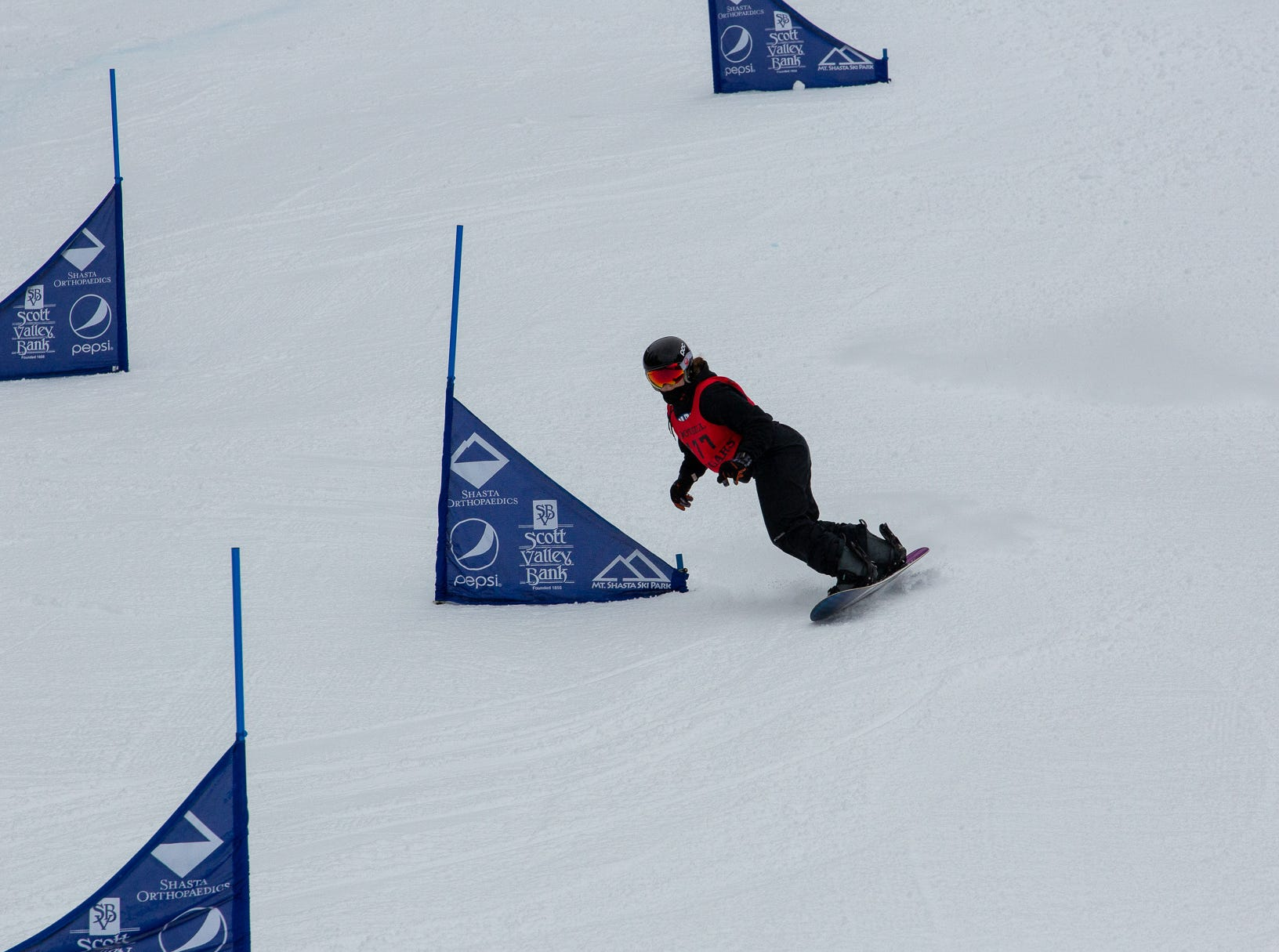 Foothill's Citriana Coulter competes in the girls slalom at the 2019 snowboard state championships held March 4-5 at Mt. Shasta Ski Park.