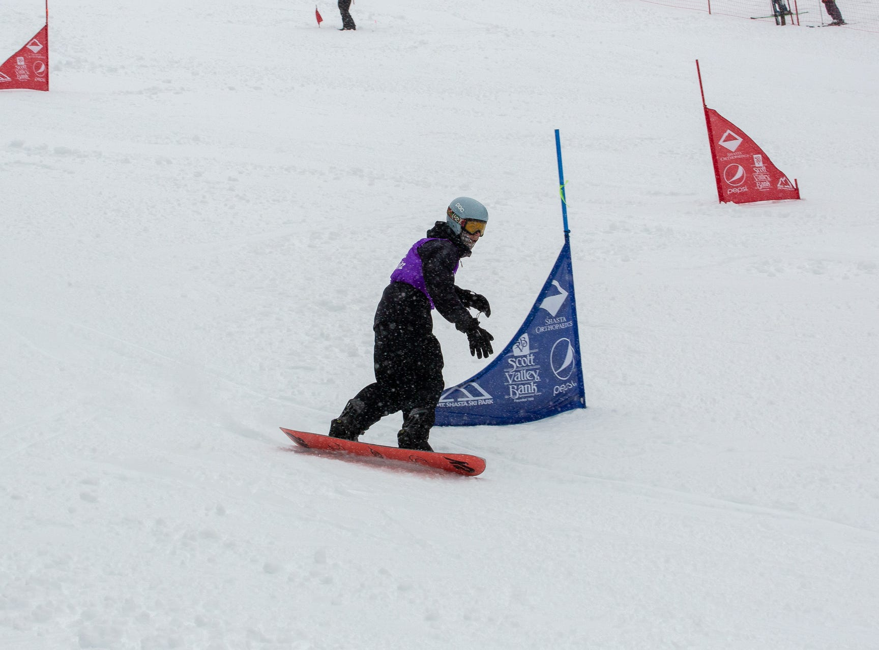 Gabe Rubanowitz of Shasta High competes in the boys slalom at the 2019 snowboard state championships held March 4-5 at Mt. Shasta Ski Park.