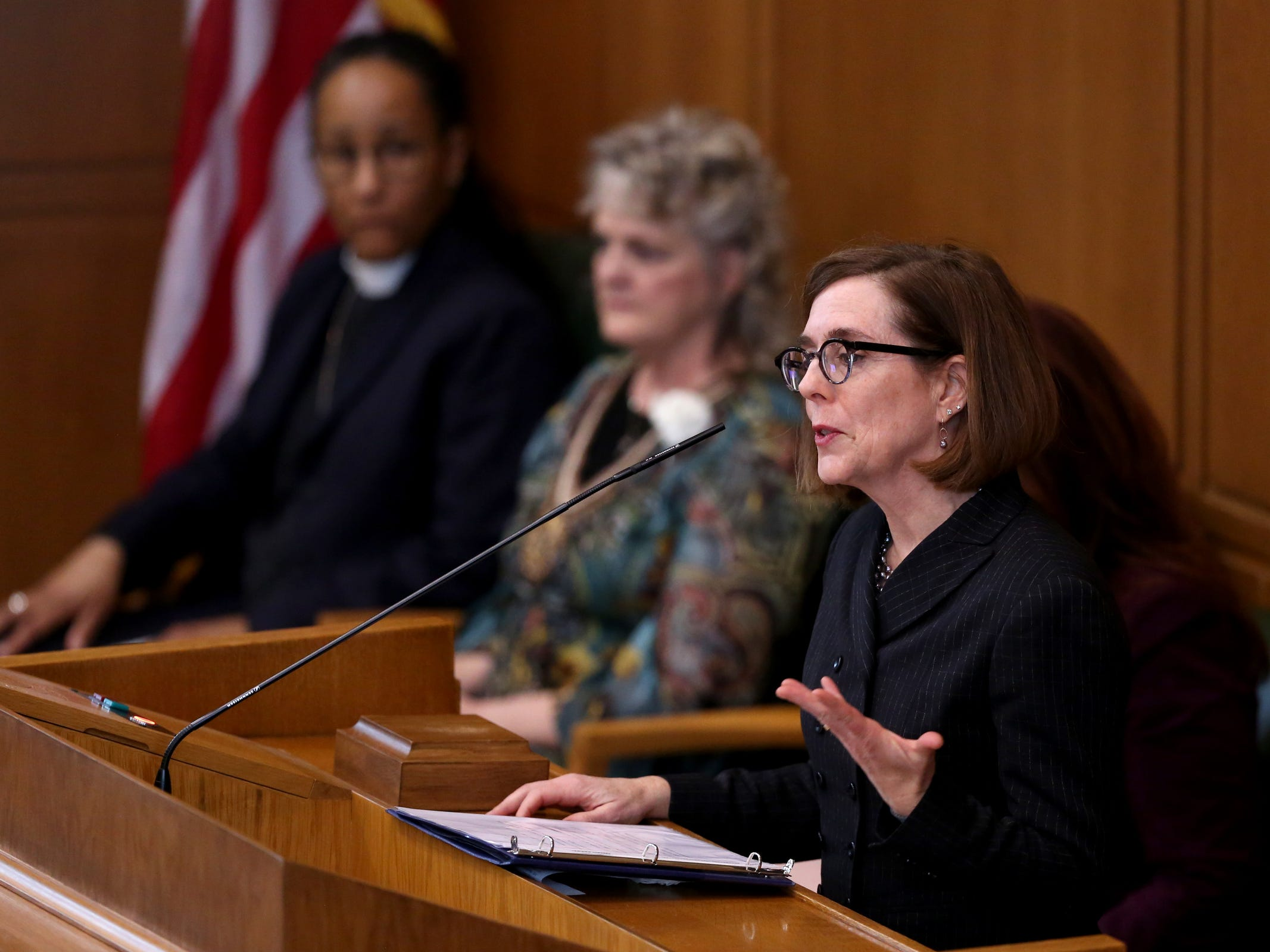 Gov. Kate Brown speaks during the state funeral for Secretary of State Dennis Richardson at the Oregon State Capitol in Salem on Wednesday, March 6, 2019.