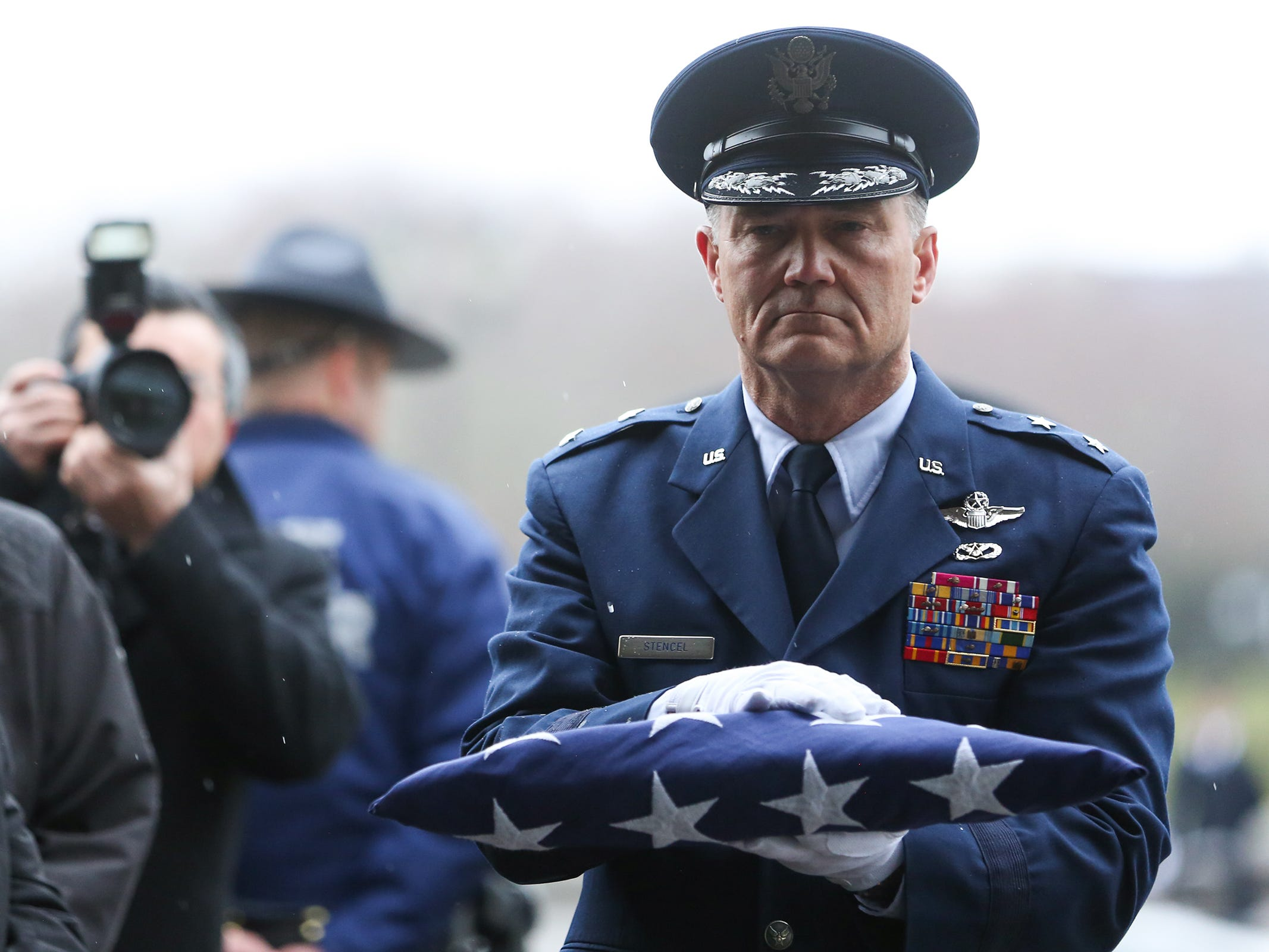 The ceremonial flag folding during the state funeral for Secretary of State Dennis Richardson at the Oregon State Capitol in Salem on Wednesday, March 6, 2019.