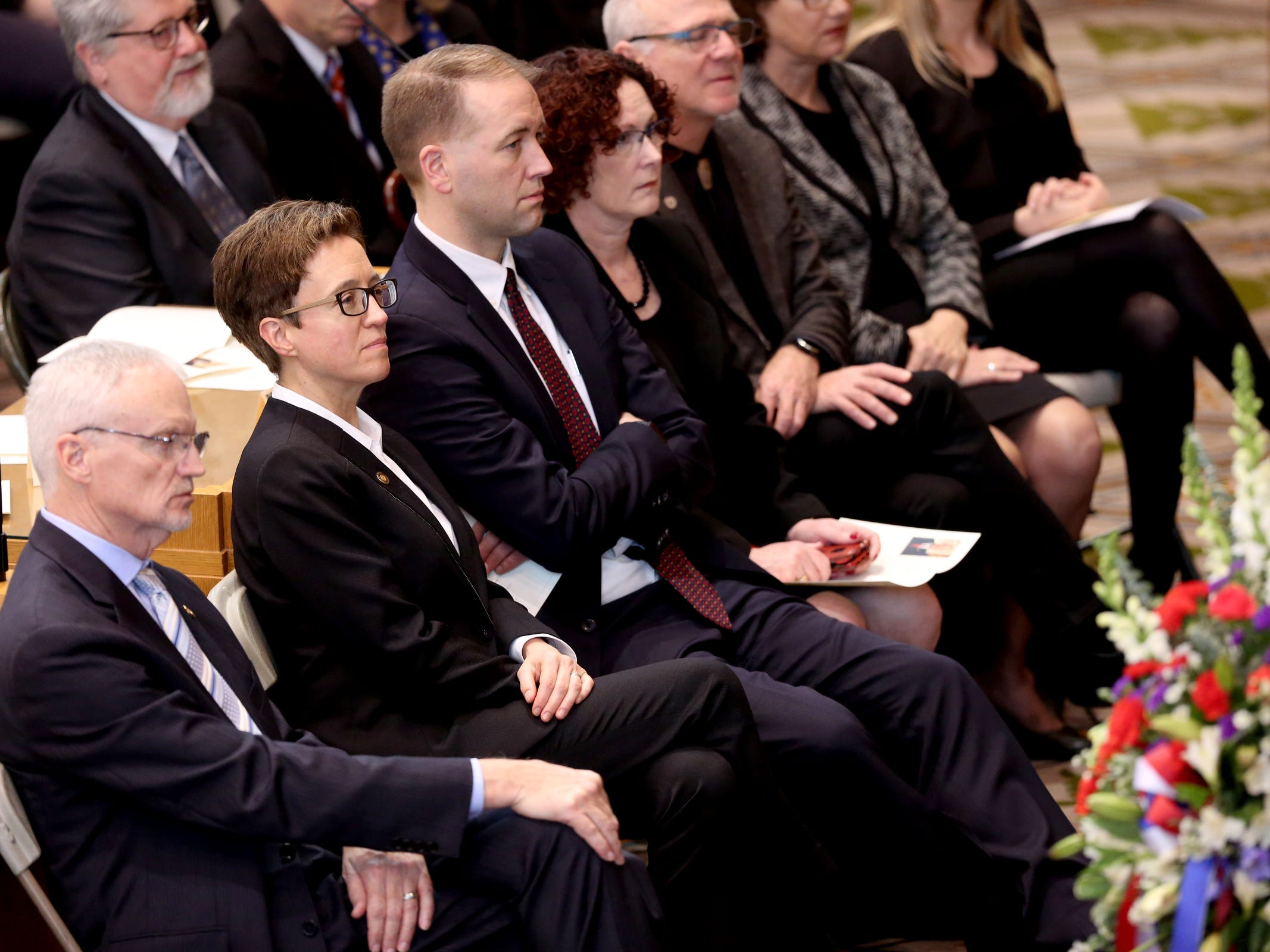 Hundreds attend the state funeral for Secretary of State Dennis Richardson at the Oregon State Capitol in Salem on Wednesday, March 6, 2019.