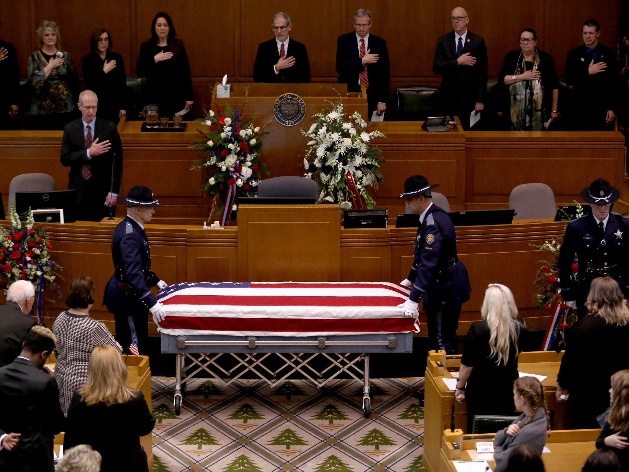The casket is placed during the state funeral for Secretary of State Dennis Richardson at the Oregon State Capitol in Salem on Wednesday, March 6, 2019.