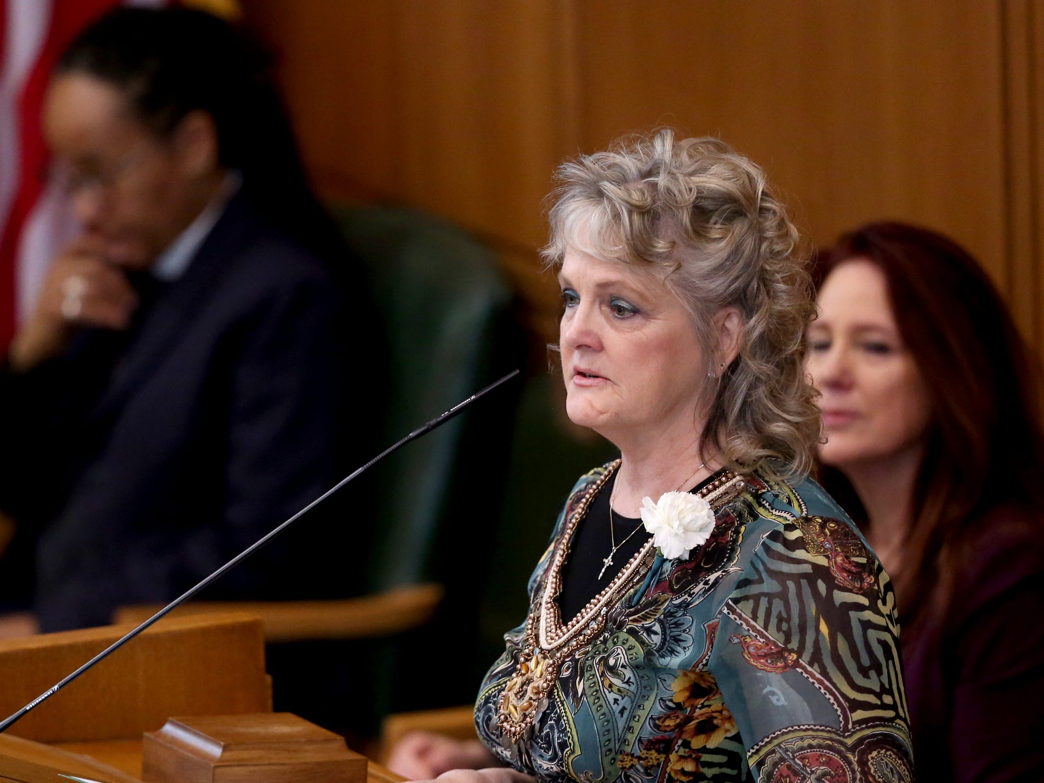 Leslie Cummings, the Acting Secretary of State, speaks during the state funeral for Secretary of State Dennis Richardson at the Oregon State Capitol in Salem on Wednesday, March 6, 2019.
