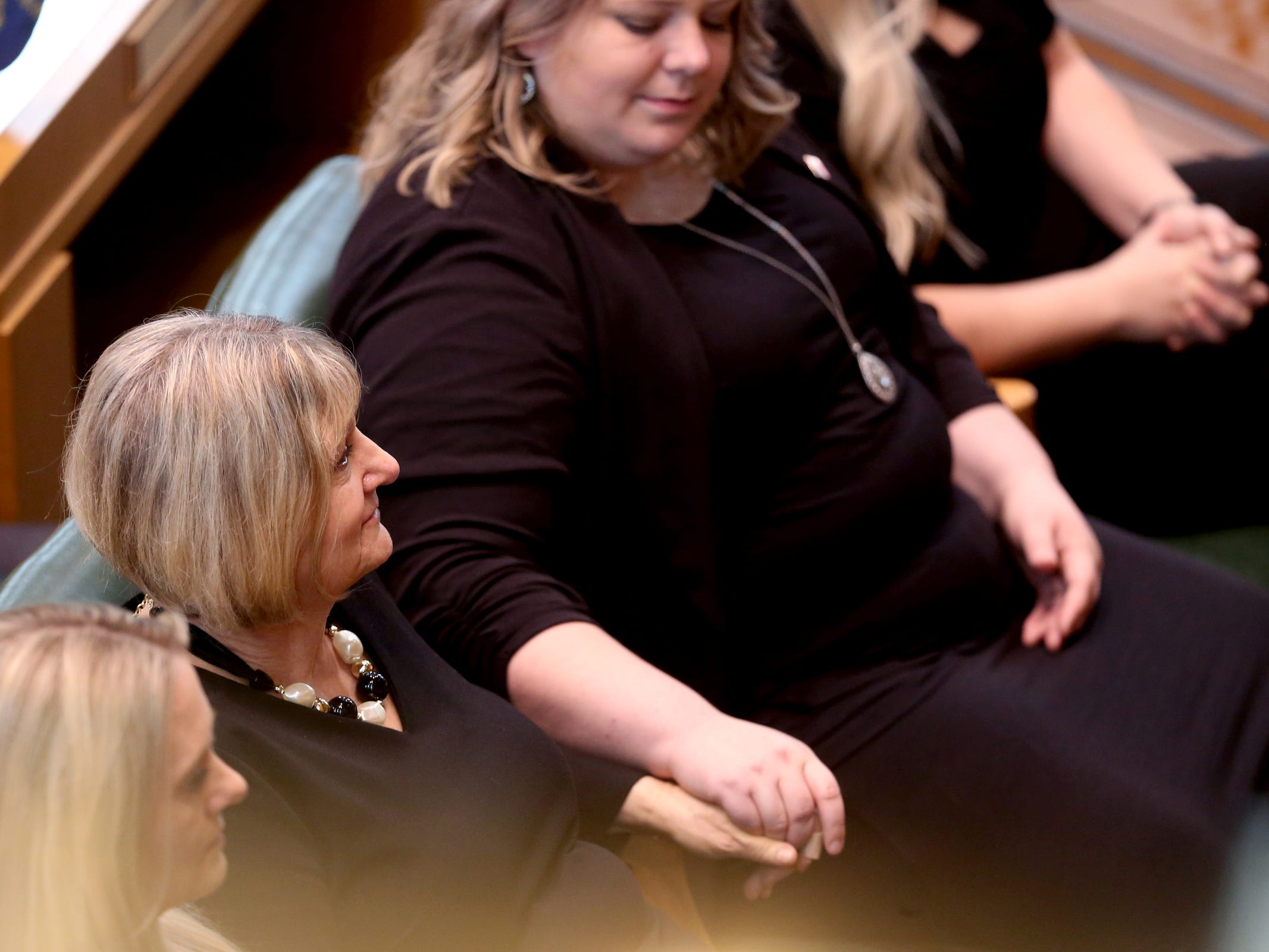 Cathy Richardson listens during the state funeral for her husband, Secretary of State Dennis Richardson, at the Oregon State Capitol in Salem on Wednesday, March 6, 2019.