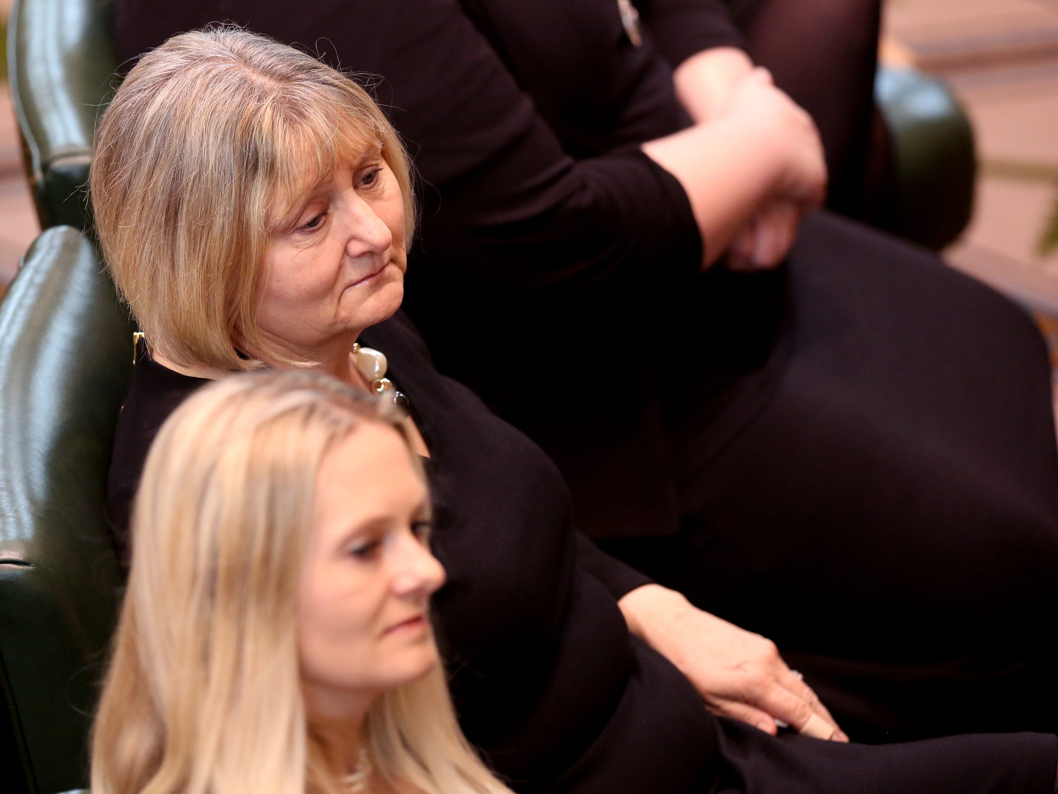 Cathy Richardson, listens during the state funeral for her husband, Secretary of State Dennis Richardson, at the Oregon State Capitol in Salem on Wednesday, March 6, 2019.