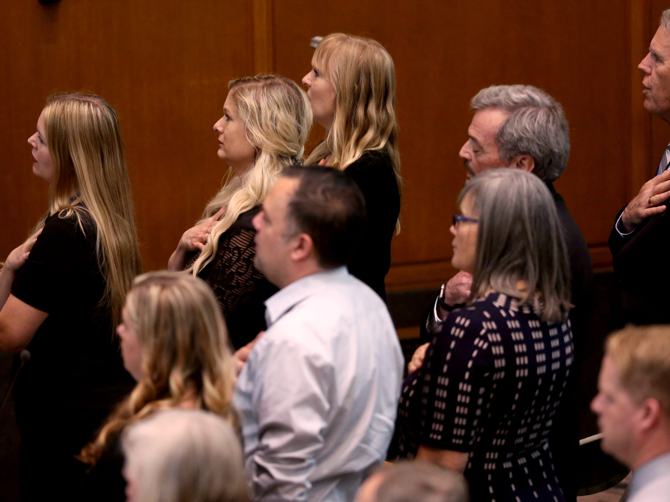 Family and friends attend the state funeral for Secretary of State Dennis Richardson at the Oregon State Capitol in Salem on Wednesday, March 6, 2019.