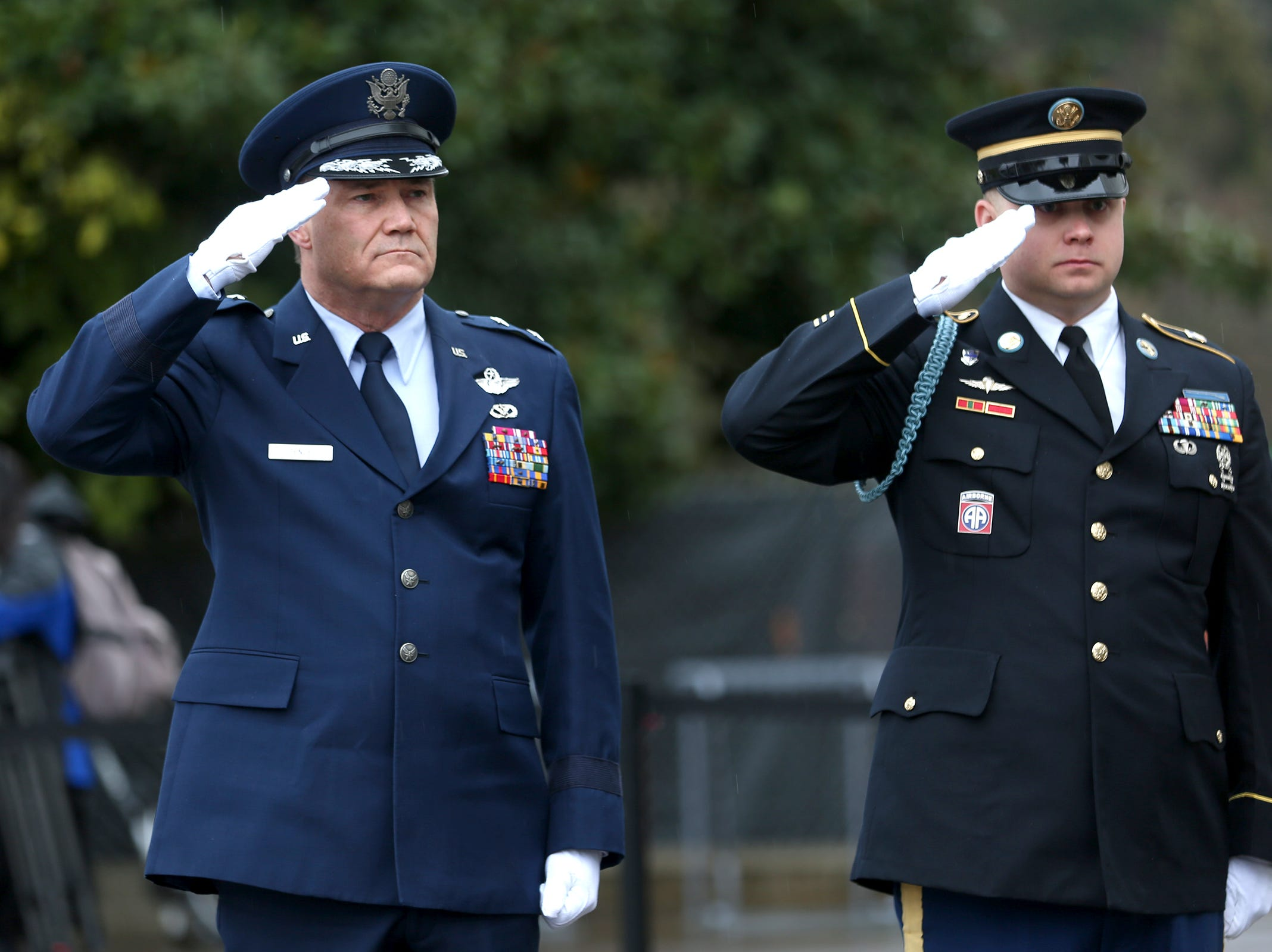 Maj. Gen. Michael E. Stencel, adjutant general of the Oregon National Guard, salutes during the state funeral for Secretary of State Dennis Richardson at the Oregon State Capitol in Salem on Wednesday, March 6, 2019.