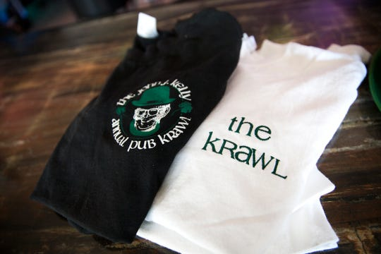 John J. Kelly Pub Krawl shirts photographed at Lucky's Pub in Salem on Mach 7, 2019.