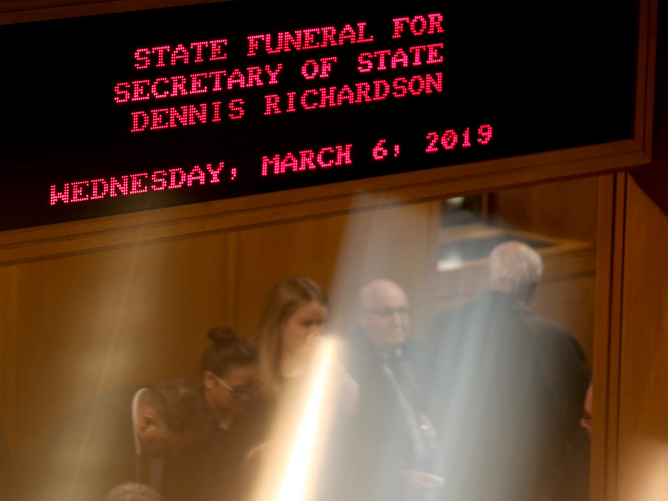 The state funeral for Secretary of State Dennis Richardson at the Oregon State Capitol in Salem on Wednesday, March 6, 2019.