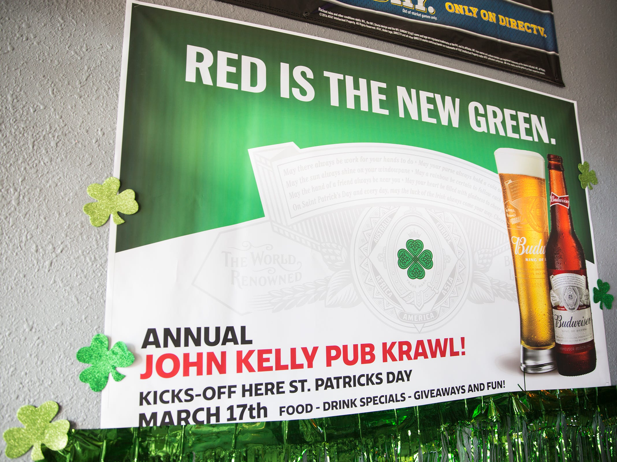 A sign promotes the annual John J. Kelly Pub Krawl in Salem on Thursday, Mach 7, 2019. The pub crawl will take place on March 17.