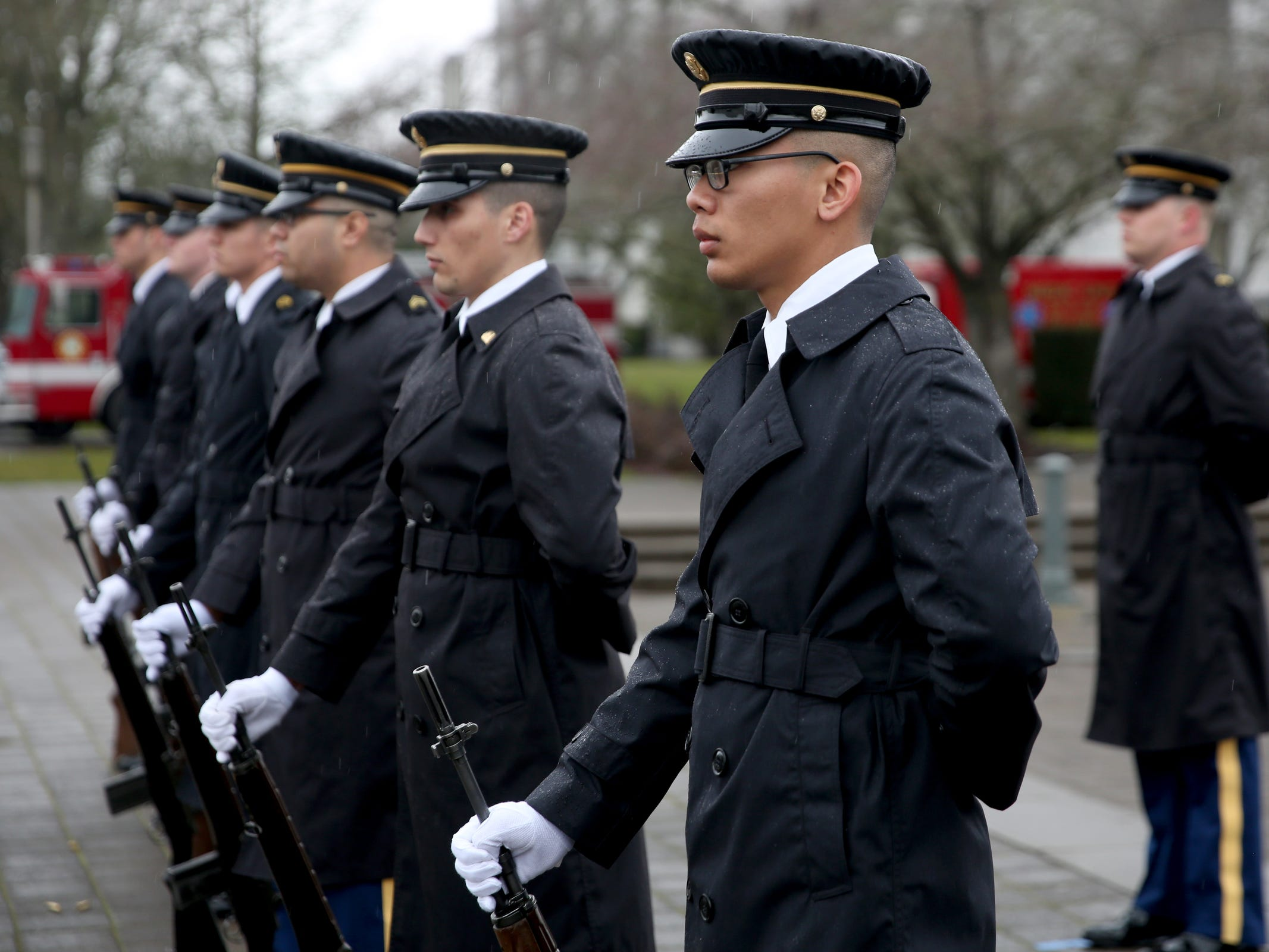 The Oregon National Guard Military Funeral Honors Team stands during the state funeral for Secretary of State Dennis Richardson at the Oregon State Capitol in Salem on Wednesday, March 6, 2019.