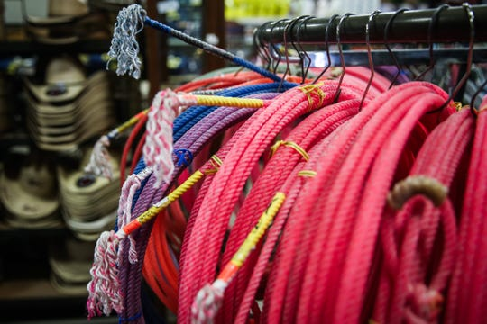 Palmer Feed & Supply sells ropes of various sizes and colors.