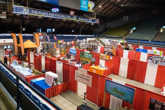 The interior of the Sioux Empire Sportsmen's Show is shown, Thursday, March 7, 2019 in Sioux Falls, S.D.