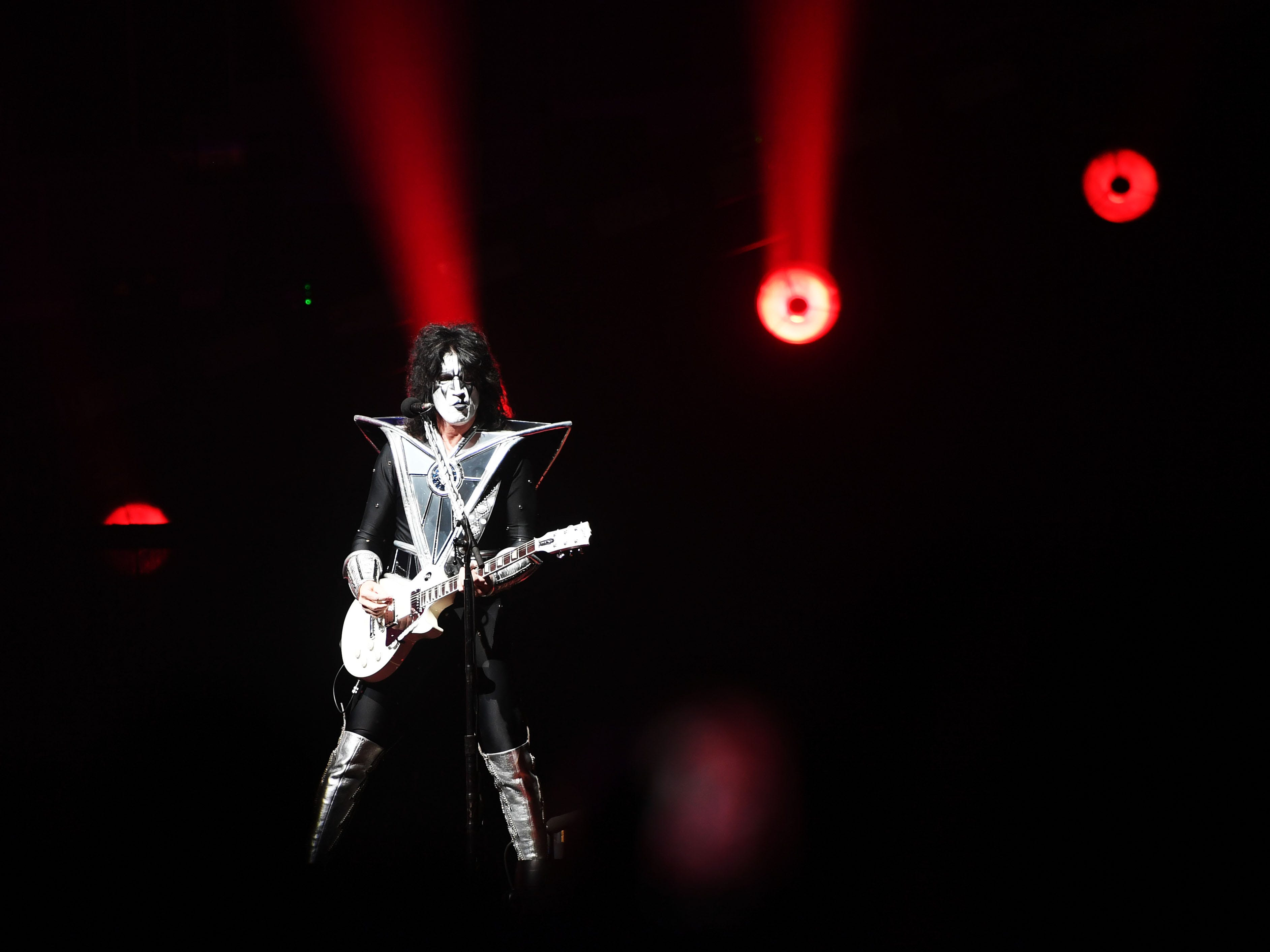 KISS guitarist Tommy Thayer performs during the KISS End of the Road World Tour Wednesday, March 6, at the Denny Sanford Premier Center in Sioux Falls. The line up included lead vocalist Paul Stanley, bassist Gene Simmons, guitarist Tommy Thayer and drummer Eric Singer.