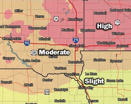The risk of more than six inches of snow on Saturday.